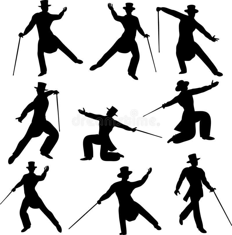 Siluetas elegantes del bailarín ilustración del vector