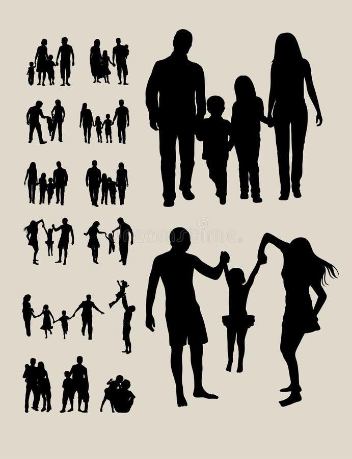 Siluetas felices de la familia ilustración del vector