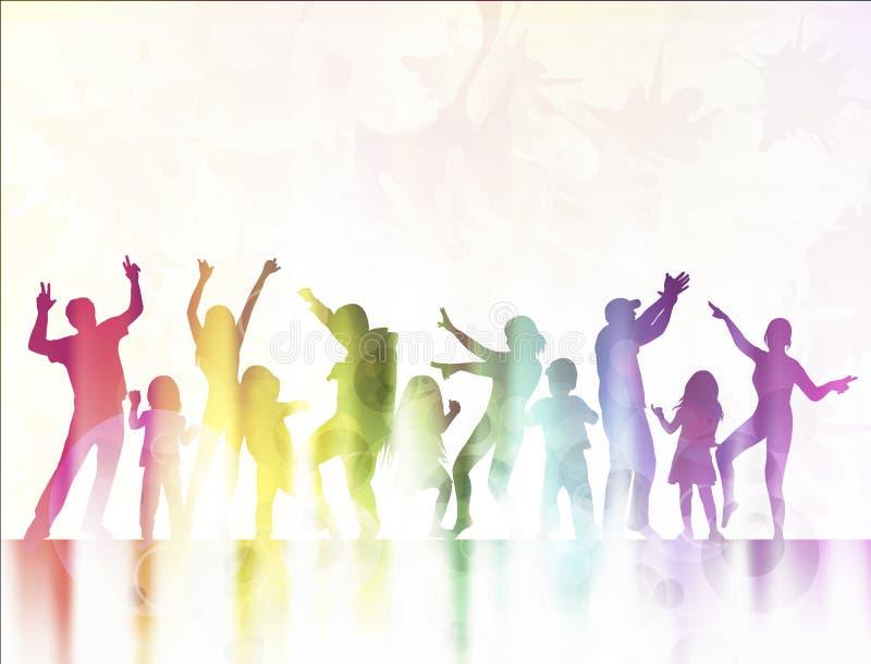 Siluetas felices de los niños que bailan junto libre illustration