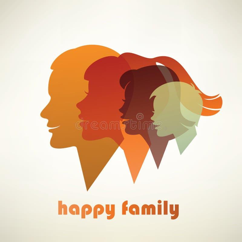 Siluetas felices del perfil de la familia ilustración del vector