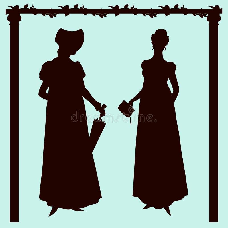 Siluetas históricas de las mujeres de la moda del estilo del imperio ilustración del vector