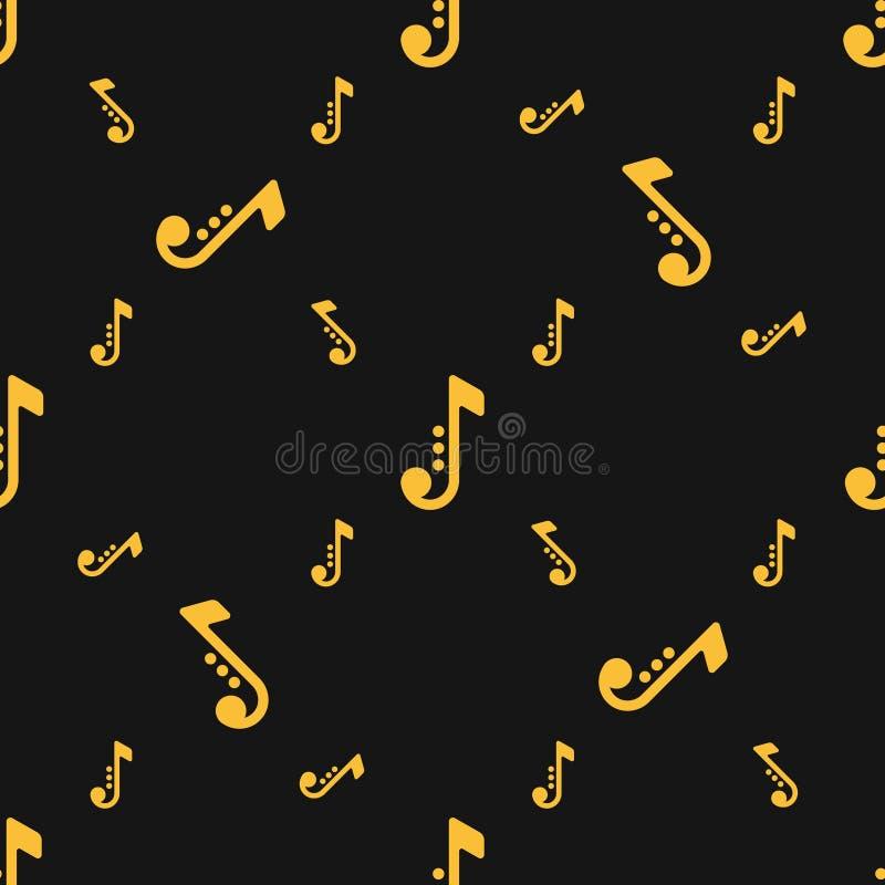 Siluetas inconsútiles del modelo de las notas musicales sobre fondo negro ilustración del vector