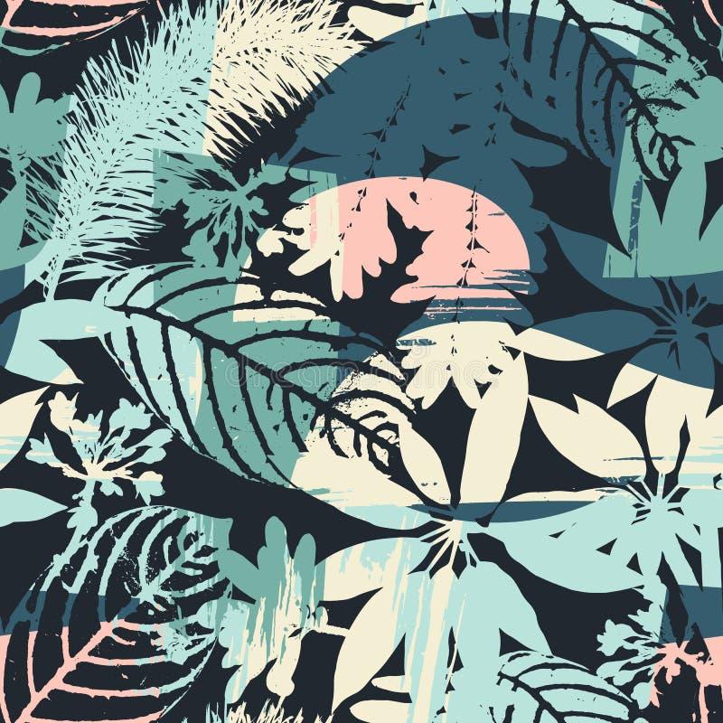 Siluetas inconsútiles florales abstractas del modelo de hojas y del fondo artístico ilustración del vector