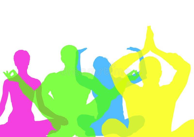 Siluetas intensas del color que hacen yoga con opacidad Fondo blanco stock de ilustración