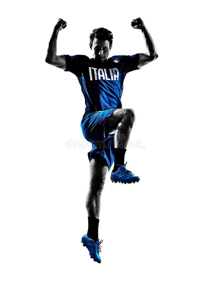 Siluetas italianas del hombre de los jugadores de fútbol imagen de archivo libre de regalías