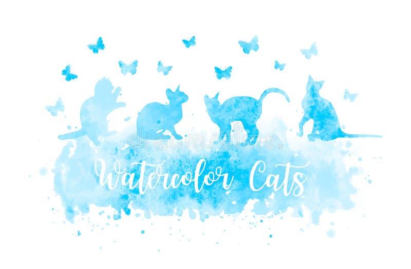 Siluetas lindas del gato de la acuarela que juegan con las mariposas chapoteo azul EPS 10 de la acuarela del vector ilustración del vector