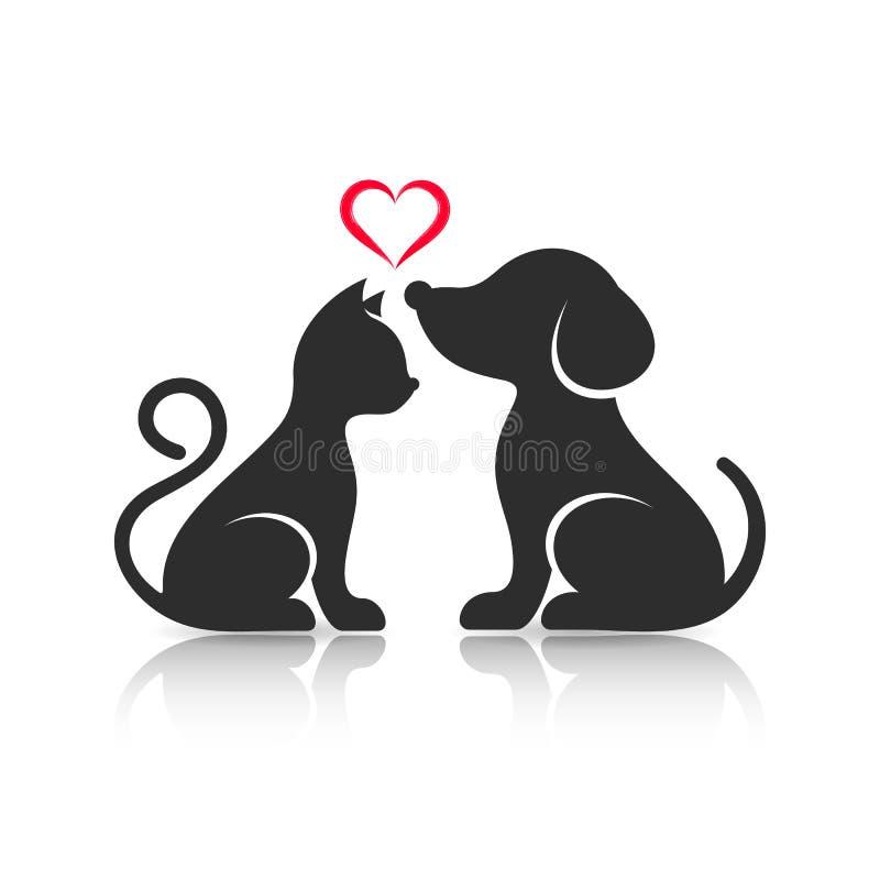 Siluetas lindas del gato y del perro stock de ilustración