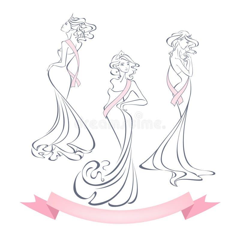 Siluetas lineares del estilo de muchachas hermosas en vestidos de noche ilustración del vector
