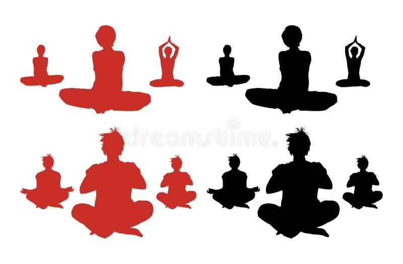 Siluetas Meditating ilustración del vector