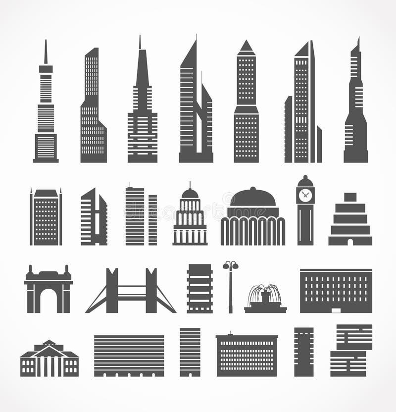 Siluetas modernas de los elementos de la ciudad libre illustration