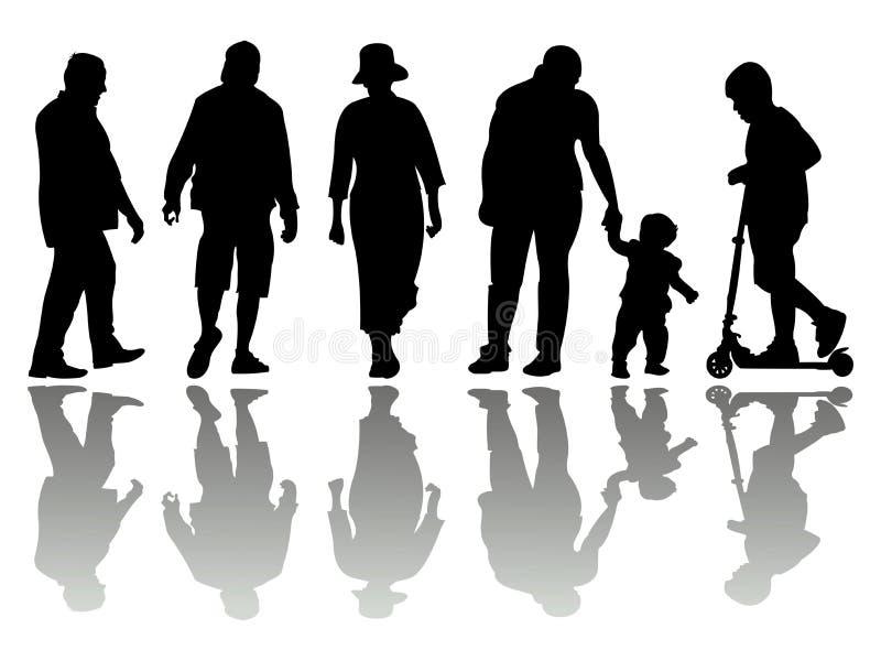 Siluetas negras 4 de la gente ilustración del vector