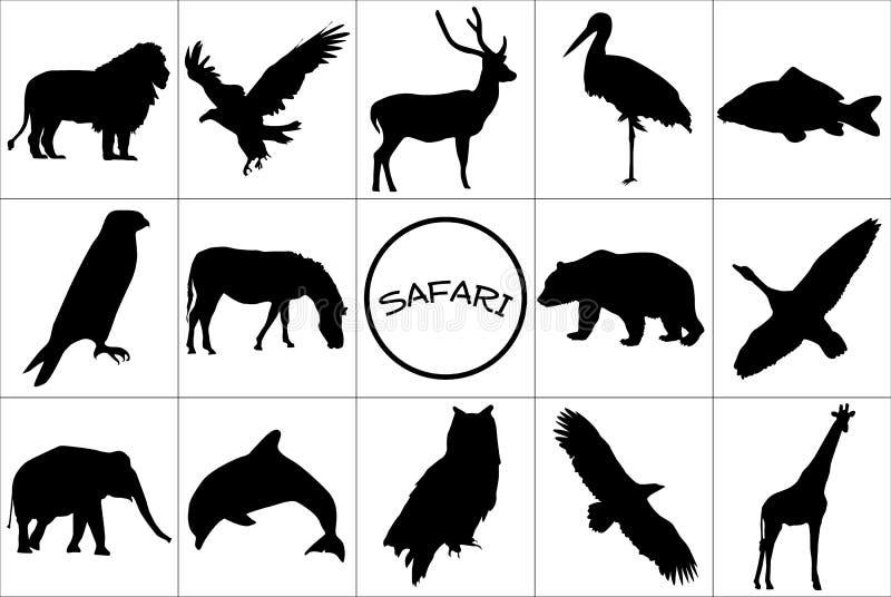 Siluetas negras de animales. fotos de archivo libres de regalías