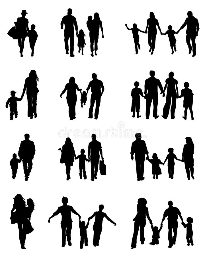 Siluetas negras de familias stock de ilustración
