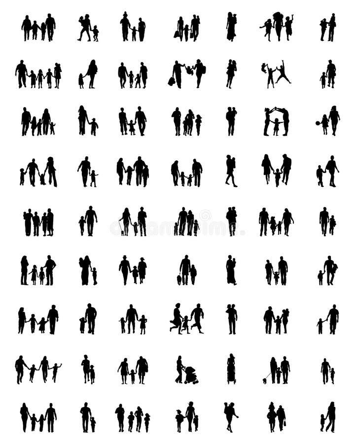 Siluetas negras de familias libre illustration