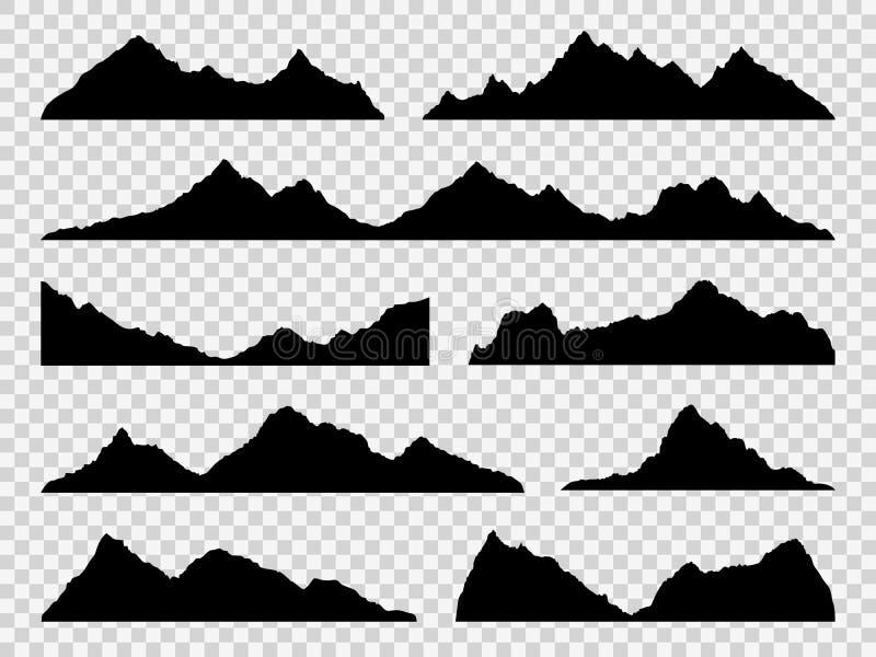 Siluetas negras de las montañas Se extiende el horizonte, paisaje del alza de la alta montaña, picos alpinos Naturaleza extrema d stock de ilustración