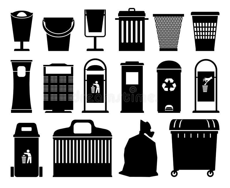 Siluetas negras de los cubos de la basura stock de ilustración