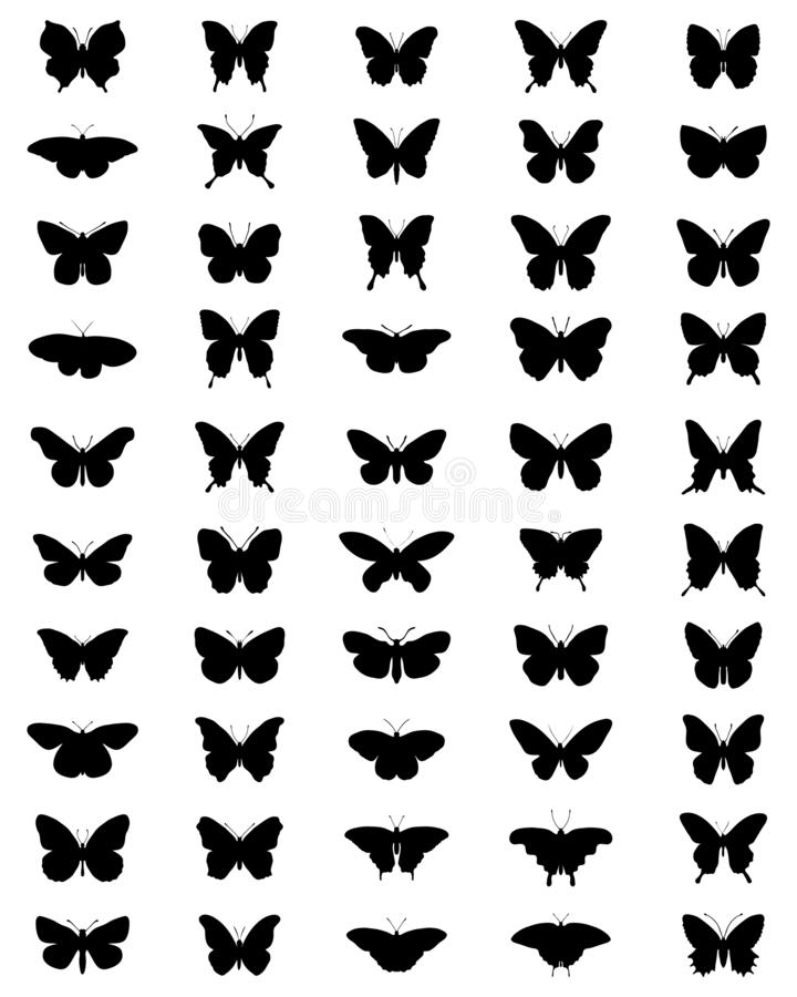 Siluetas negras de mariposas libre illustration