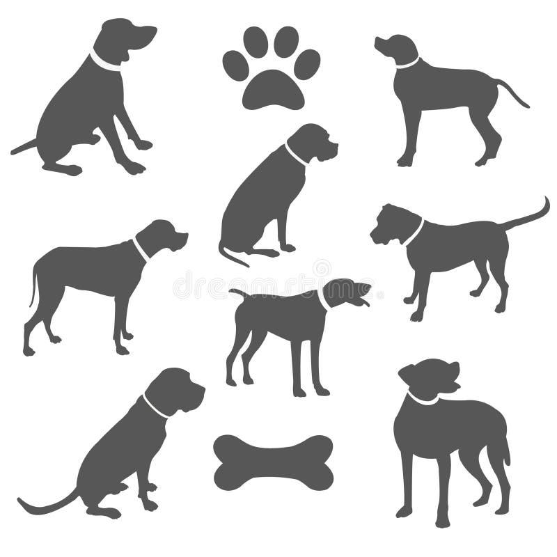 Siluetas negras de perros ilustración del vector
