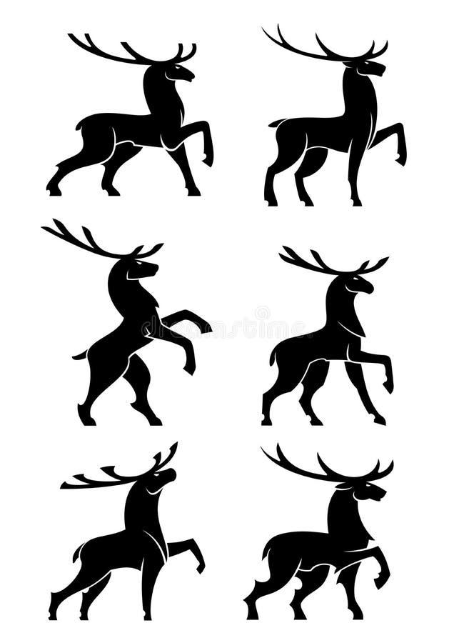 Siluetas negras salvajes de los alces o de los ciervos del toro ilustración del vector