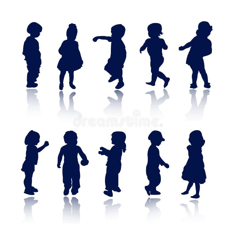Siluetas - niños stock de ilustración