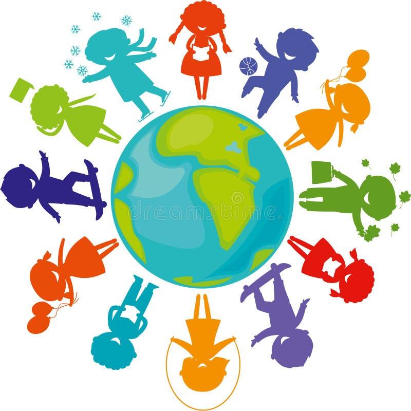 Siluetas, niños alrededor del mundo stock de ilustración