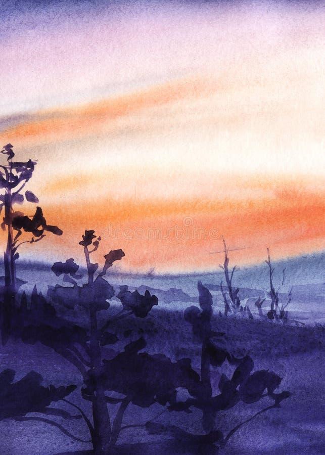 Siluetas púrpuras oscuras de altos pinos y montañas contra un cielo rojo de la puesta del sol Ejemplo a mano de la acuarela ilustración del vector