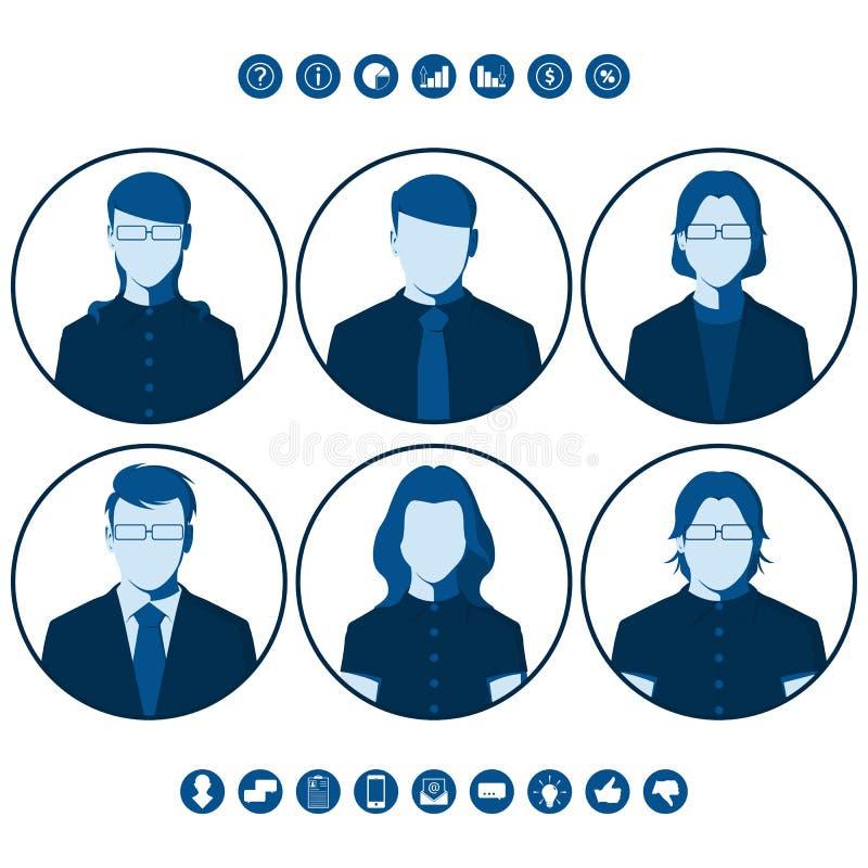 Siluetas planas de los hombres de negocios para la imagen del perfil de usuario ilustración del vector