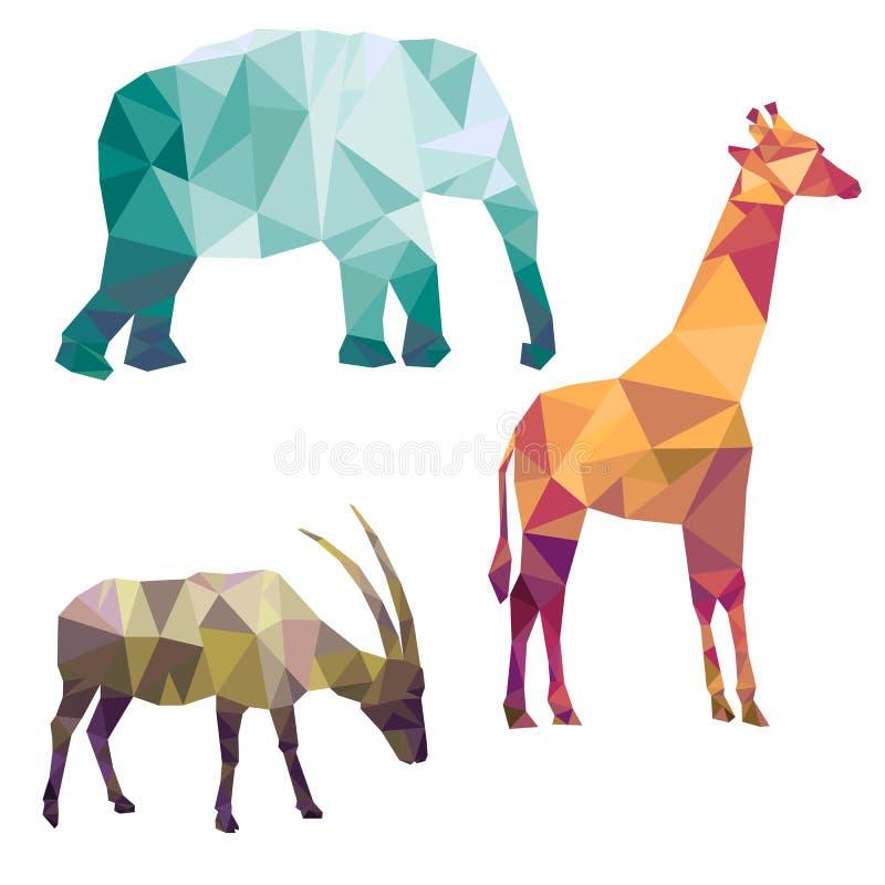 Siluetas poligonales de animales africanos stock de ilustración