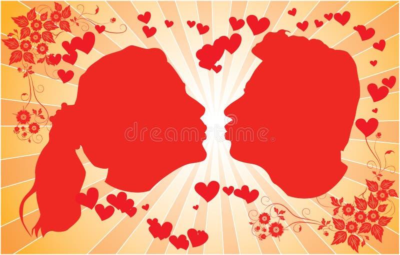 Siluetas que besan los hombres y a las mujeres, vector stock de ilustración