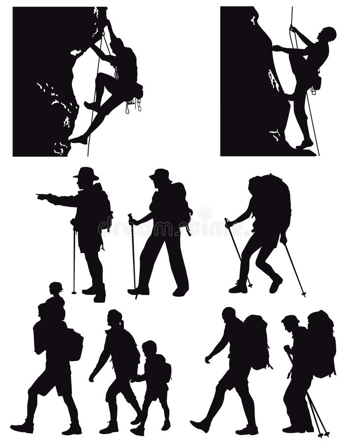 Siluetas que caminan y que suben libre illustration