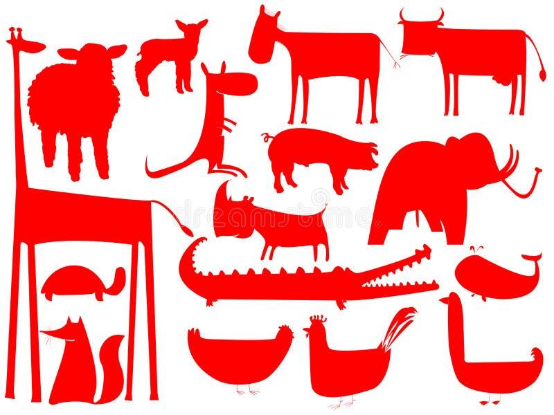 Siluetas Rojas Animales Aisladas En Blanco Ilustración