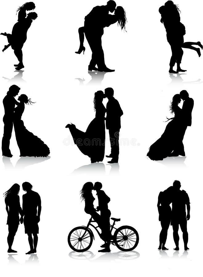 Siluetas románticas de los pares stock de ilustración