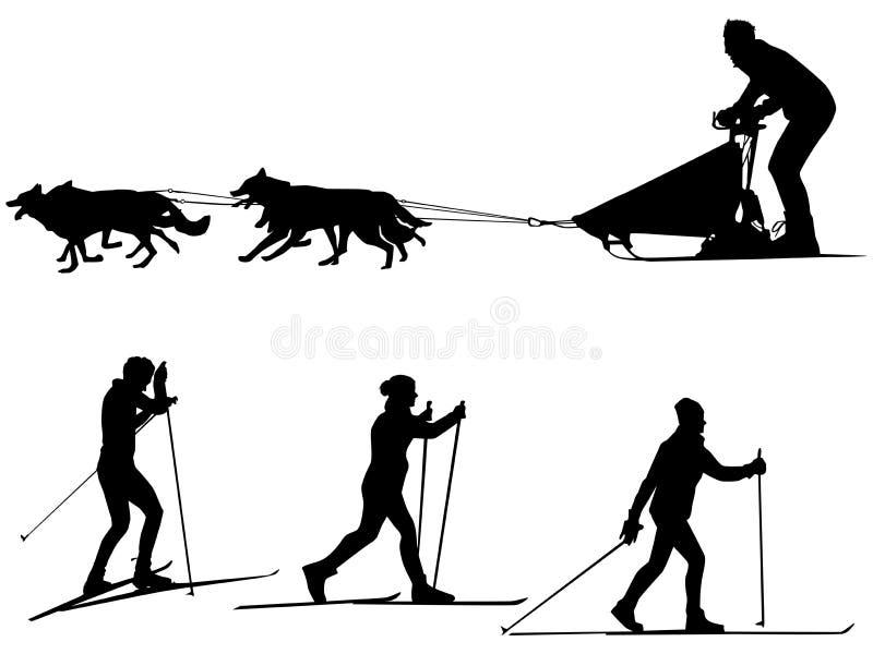 Siluetas sledding del deporte del esquí y del perro del campo a través libre illustration