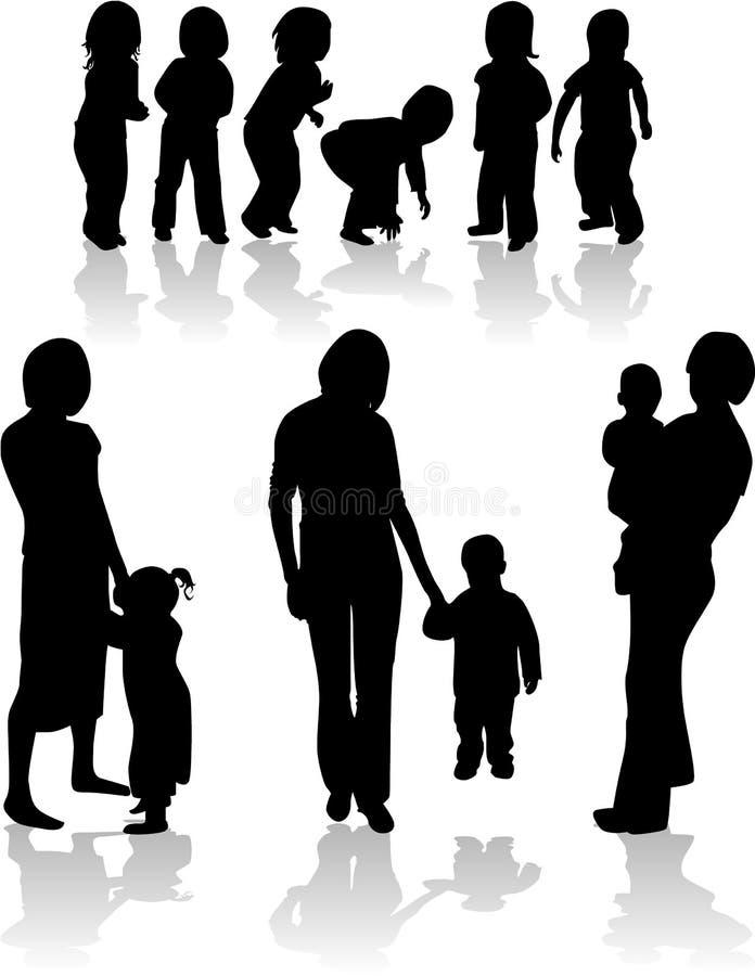 Siluetas sujetas de la familia stock de ilustración