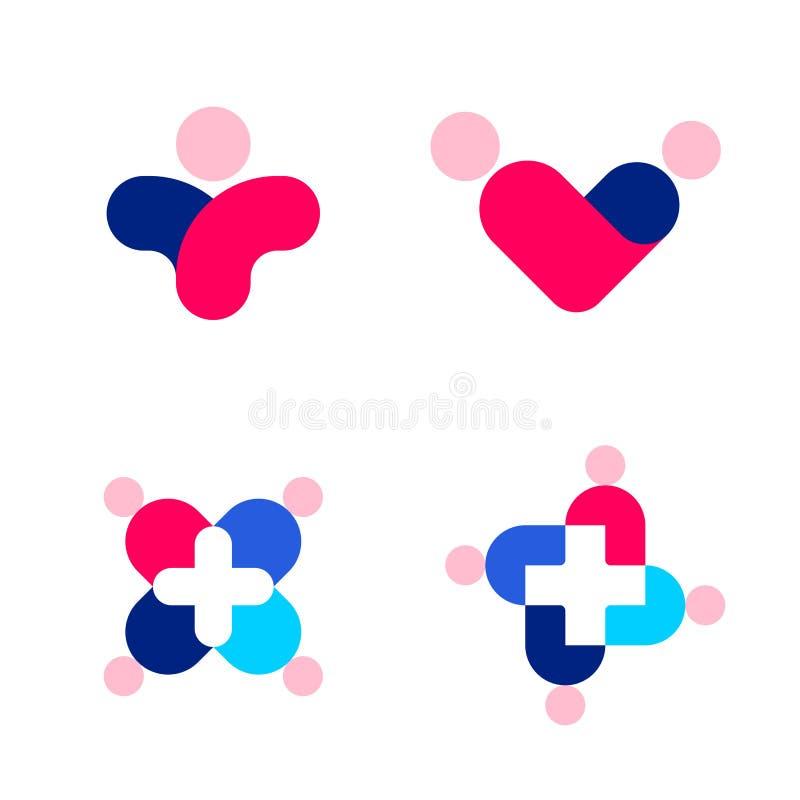 Siluetas y cruz humanas Logotipo o icono del vector de la medicina libre illustration