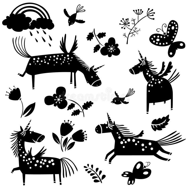 Siluetas y flores del unicornio del vector stock de ilustración