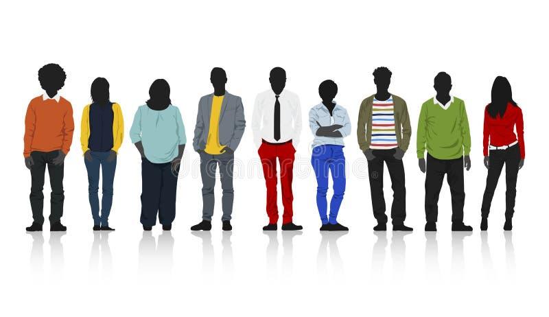 Siluetea al grupo de gente casual colorida en fila stock de ilustración