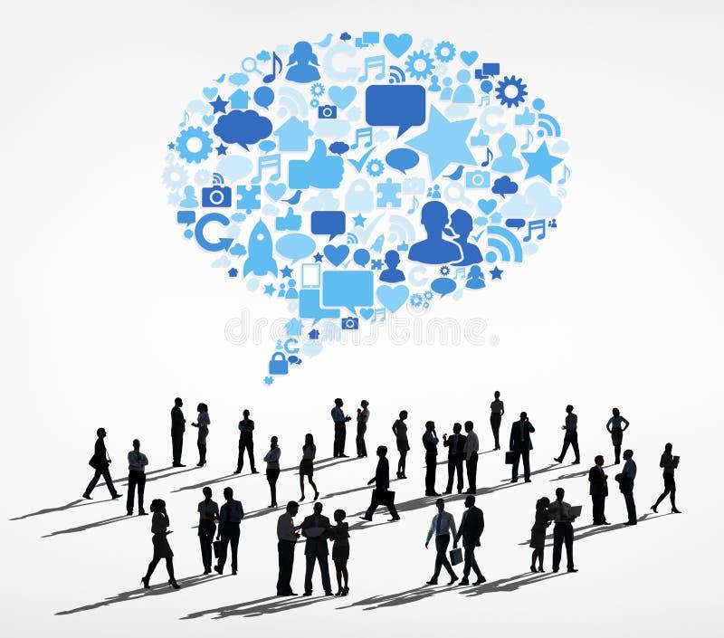 Siluetea al grupo de hombres de negocios de las comunicaciones libre illustration