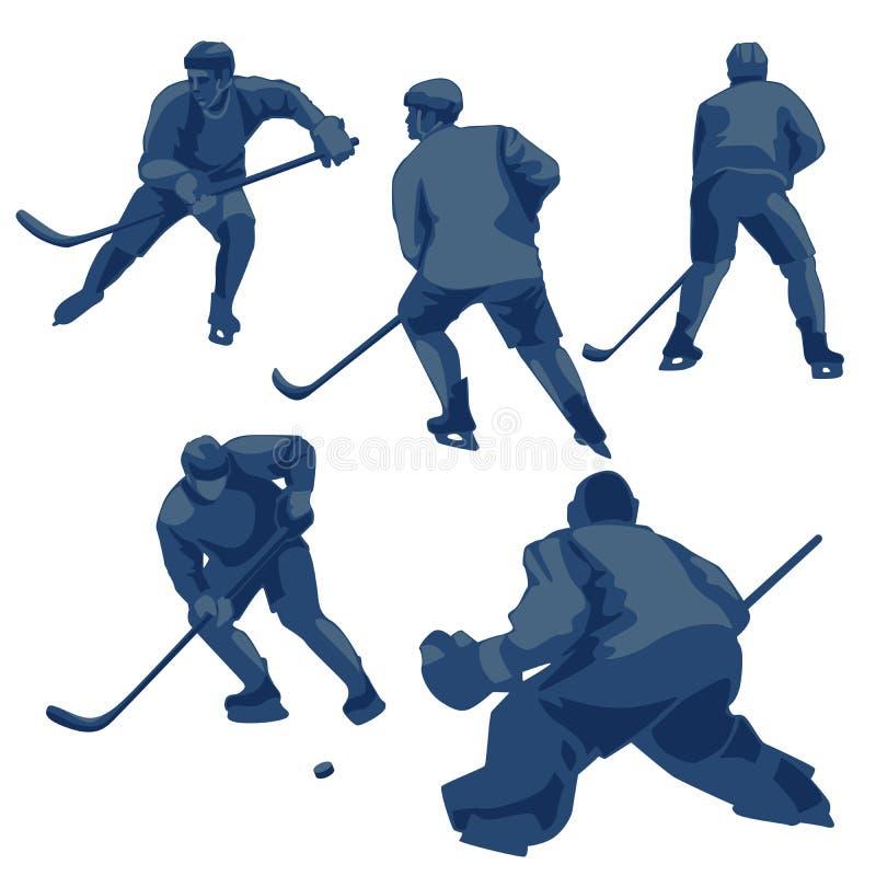 Siluetea a jugadores del hockey sobre hielo: defensores, adelante y portero stock de ilustración