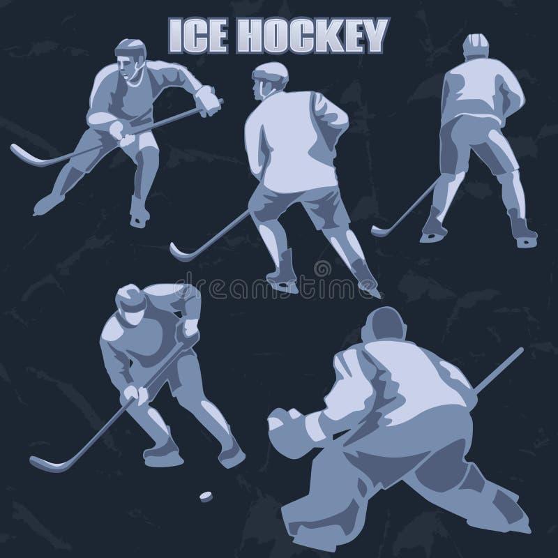 Siluetea a jugadores del hockey sobre hielo: defensores, adelante y portero ilustración del vector