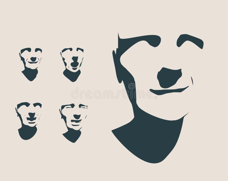 Siluetea la colección de un human& x27; cabeza de s ilustración del vector