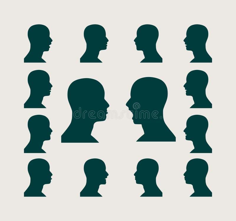 Siluetea la colección de un man& x27; cabeza de s ilustración del vector