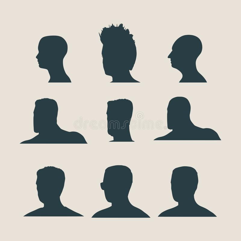 Siluetea la colección de una cabeza del ` s del hombre ilustración del vector