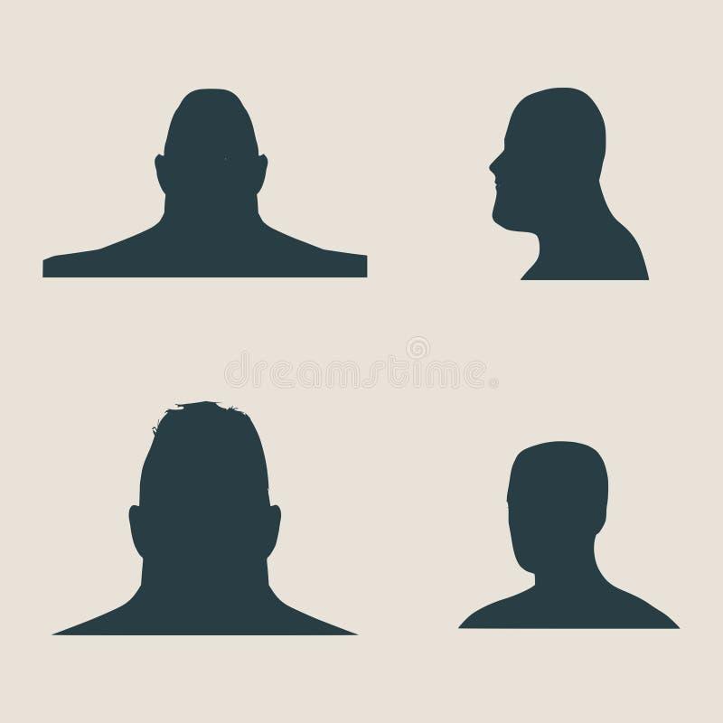 Siluetea la colección de una cabeza del ` s del hombre libre illustration