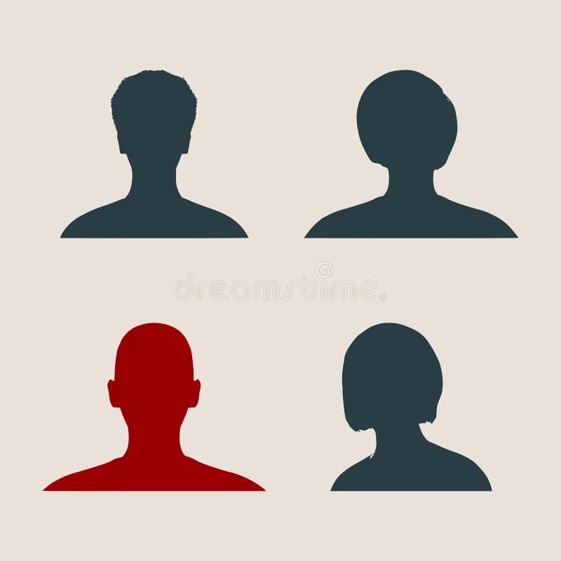 Siluetea la colección de una cabeza femenina ilustración del vector