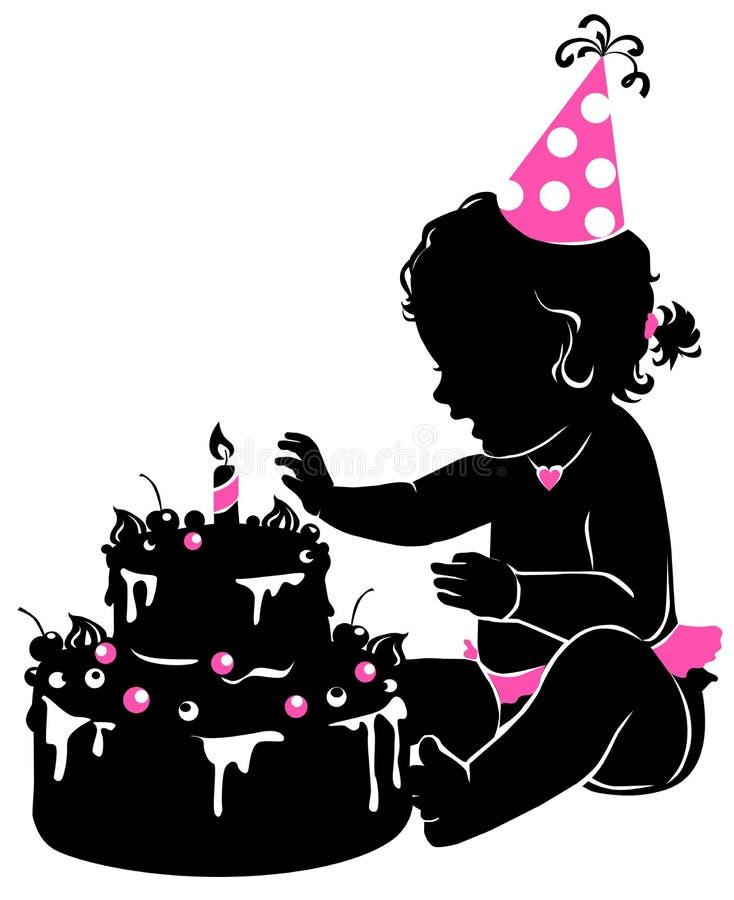 Siluetee al bebé lindo con la torta de cumpleaños con la vela ilustración del vector