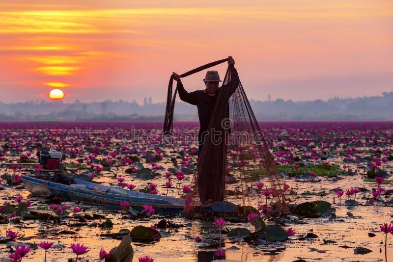 Siluetee al pescador que trabaja en el barco en el lago para coger el fi imagen de archivo