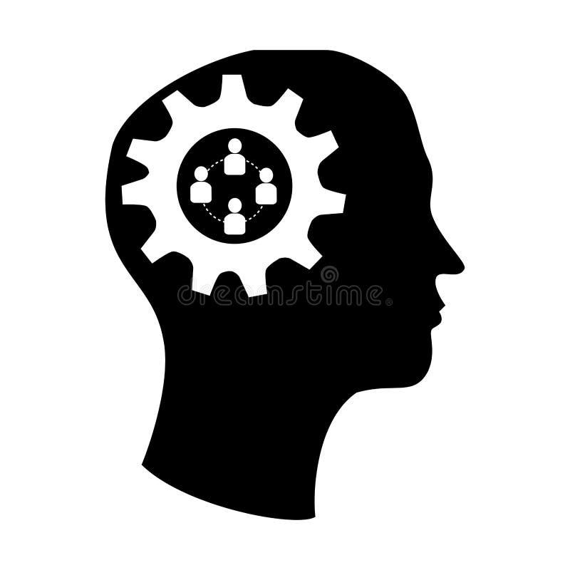 Siluetee el cerebro en cabeza con el icono del trabajo del engranaje y del equipo stock de ilustración