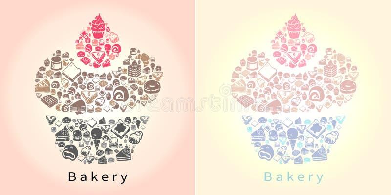 Siluetee el dibujo del garabato del dulce y del caramelo del postre tal como cak ilustración del vector