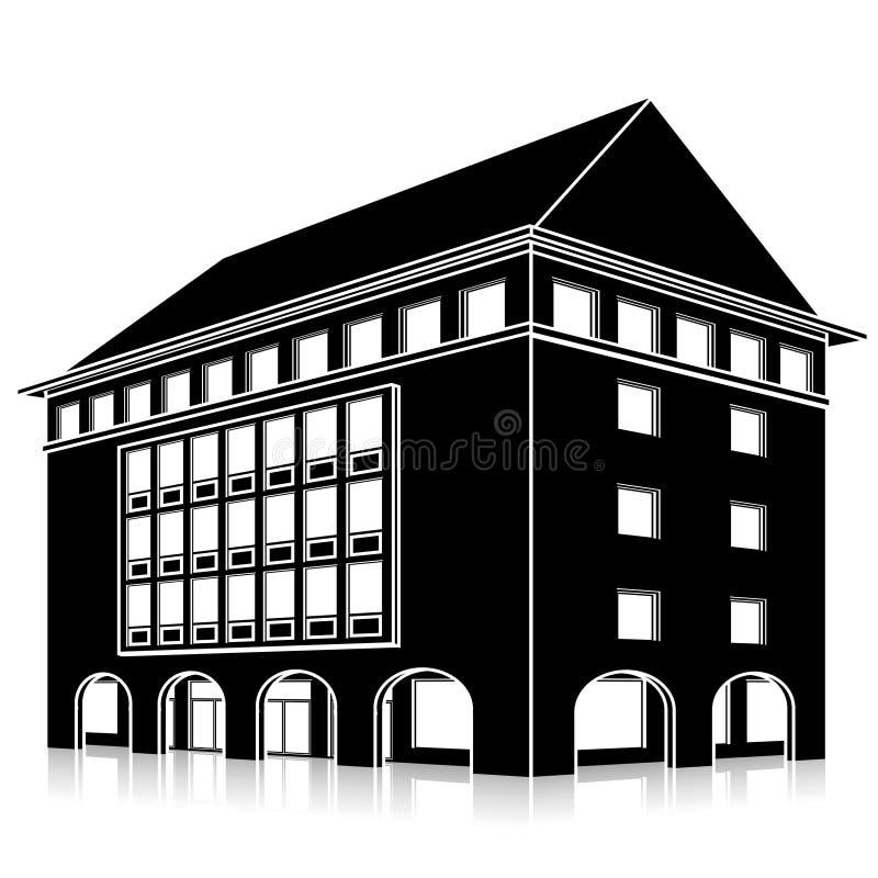 Siluetee el edificio de oficinas con una entrada y una reflexión libre illustration